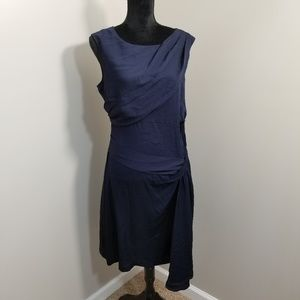 Diane Von Furstenberg Navy Silk BEC Midi Dress 14